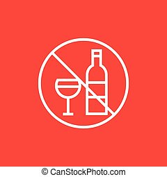 No alcohol sign line icon. - No alcohol sign thick line icon...