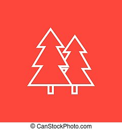 Pine trees line icon - Pine trees thick line icon with...