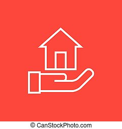 House insurance line icon - House insurance thick line icon...