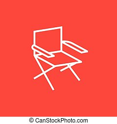Folding chair line icon - Folding chair thick line icon with...