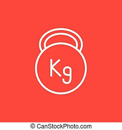 Kettlebell line icon. - Kettlebell thick line icon with...