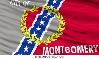 Close Up Waving National Flag of Montgomery City -...