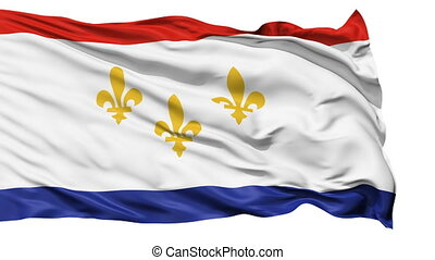 Isolated Waving National Flag of New Orleans City