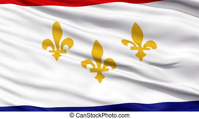 Close Up Waving National Flag of New Orleans City - New...