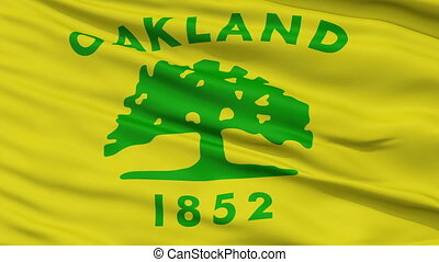 Close Up Waving National Flag of Oakland City - Oakland City...