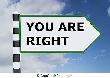 You Are Right concept - 3D illustration of YOU ARE RIGHT...