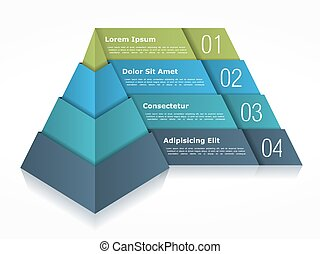 Pyramid chart with four elements, vector eps10 illustration