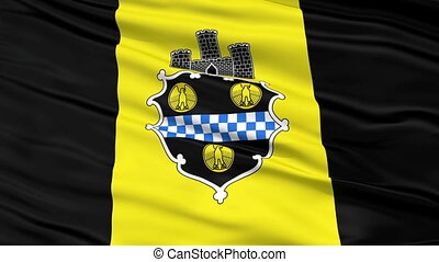 Close Up Waving National Flag of Pittsburgh City -...