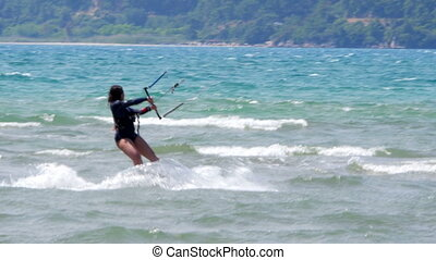 quot;Akyaka, Turkey, Kitesurfer Kite Surfing at seaquot; -...