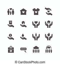 charity and donation silhouette icons flat line design