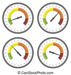 Set of Manometer Icons on White Background. Different Gauge...