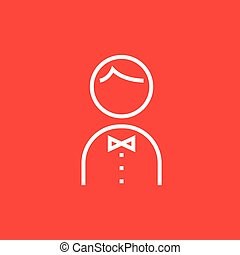 Waiter line icon. - Waiter thick line icon with pointed...