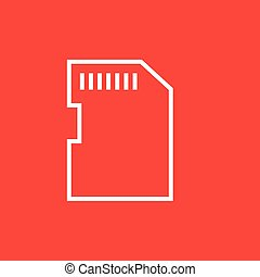 Memory card line icon - Memory card thick line icon with...