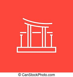 Torii gate line icon - Torii gate thick line icon with...