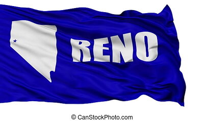 Isolated Waving National Flag of Reno City - Reno City Flag...
