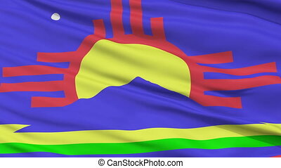 Close Up Waving National Flag of Roswell City - Roswell City...