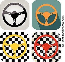 Racing steering wheel set grunge background vector eps 10