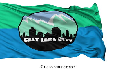 Isolated Waving National Flag of Salt Lake City