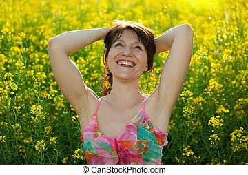 happy woman in nature