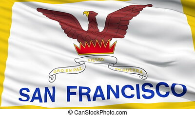 Close Up Waving National Flag of San Francisco City - San...