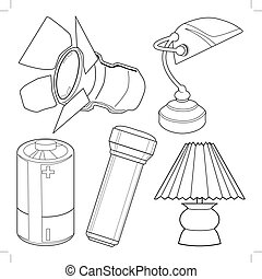 Set of light related objects