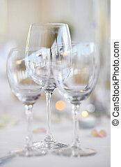 Three wine glasses on a festive table - Three wine glasses...