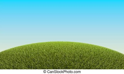 Decorated easter eggs in grass on sky background animation