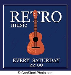 RetroMusic vector poster template. Can use for concert...