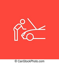 Man fixing car line icon - Man fixing car thick line icon...