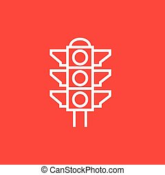 Traffic light line icon. - Traffic light thick line icon...