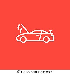 Broken car with open hood line icon. - Broken car with open...