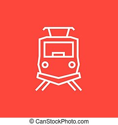 Front view of train line icon - Front view of train thick...