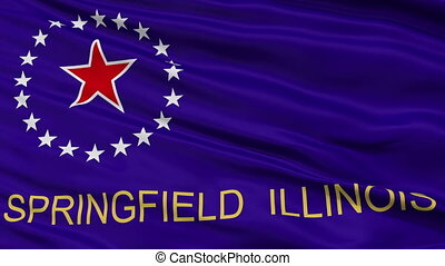 Close Up Waving National Flag of Springfield City -...