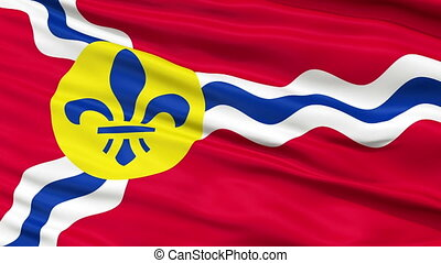 Close Up Waving National Flag of St Louis City - St Louis...