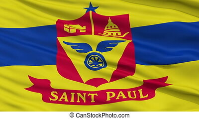 Close Up Waving National Flag of St. Paul City - St. Paul...