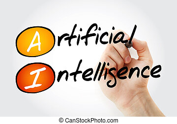 Hand writing AI - Artificial Intelligence with marker,...
