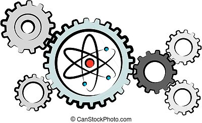 industry - nuclear power plant - outlines of gearwheels and...