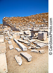 archeology in acropolis and old ruin site - in delos greece...