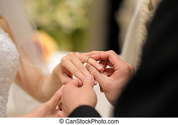 Groom putting a ring on bride\'s finger