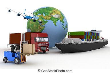 Cardboard boxes, cargo ship, truc - Cargo ship, truck, plane...