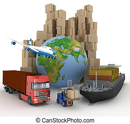 Cardboard boxes, cargo ship, truc - Cardboard boxes around...