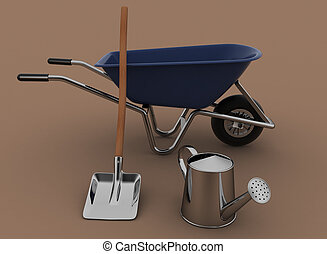 Garden tools Garden wheelbarrow, watering can and a shovel...