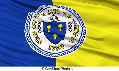 Close Up Waving National Flag of Trenton City