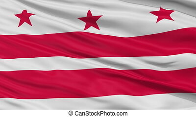Close Up Waving National Flag of Washington DC City -...
