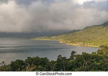 Bali, Indonesia. Lake mountain sun