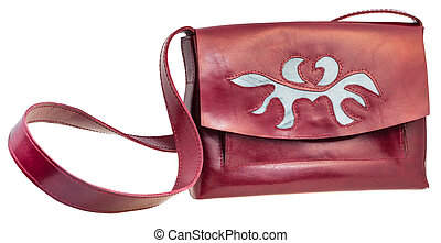 front view of cherry color handbag with applique - front...
