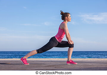 runner or jogger stretching exercise