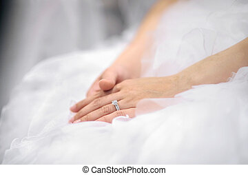 Brides hands laying on wedding dress - Brides hands laying...