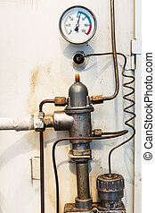 thermometer and equipment gas boiler close up for home...