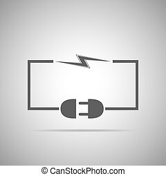 Wire plug and socket - vector illustration. Concept...